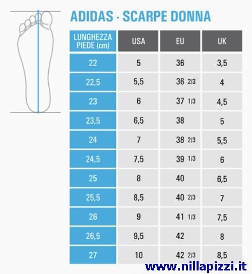 adidas scarpe taglie